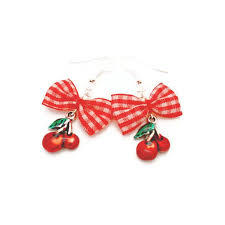 rockabilly earrings and white gingham bow and cherry earrings rockabilly pinup