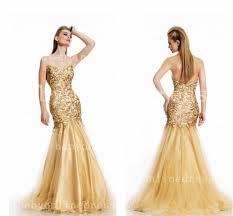 gold evening dresses sweetheart mermaid embroidery sleeveless