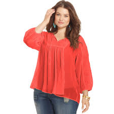 peasant blouse plus size lyst plus size three quarter sleeve peasant top