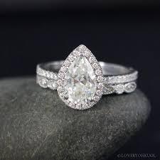 moissanite vintage engagement rings forever brilliant white gold vintage pear cut moissanite halo