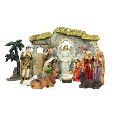 multi color traditional religious nativity set