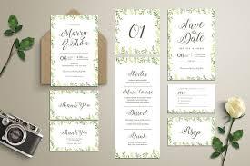 wedding invitation suite watercolor leaves wedding invitation suite by vynetta on envato