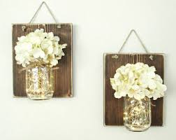 Wall Sconces For Flowers Mason Jar Sconce Etsy