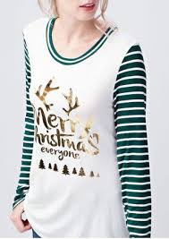 merry christmas everyone striped splicing t shirt chicgrace