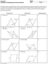 properties of parallelograms worksheet parallelograms partner worksheet by mrs e teaches math tpt