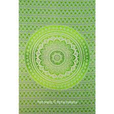 green colorful floral circle ombre tapestry hippie bedspread