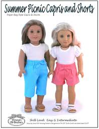 paper bag toddler shorts pattern forever 18 inches summer picnic shorts and capris doll clothes
