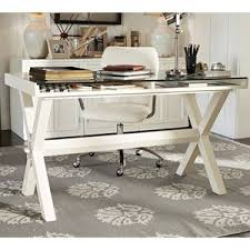 Pottery Barn Writing Desk by Pottery Barn Ava Glass Display Wood Desk Antique White Polyvore