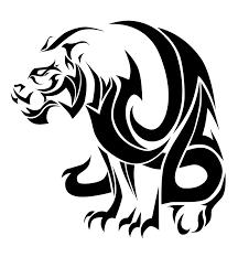 black tribal cat yin yang design clip library