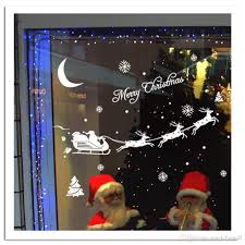Window Decorations For Christmas by Santa U0027s Cart Snowflake Moon Christmas Tree Wall Stickers Store