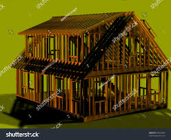 cape style house render cape style house frame leftrear stock illustration 45203563