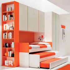 Three Level Bunk Bed Triple Bunk Bed Saving Space With Bookshelf Bunk Bed Pinterest