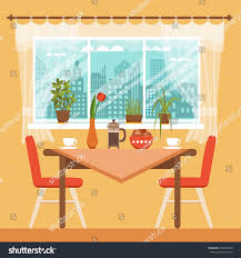 dining table chairs coffee cups near stock vector 469749629