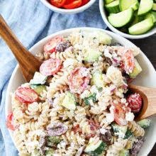 Creamy Pasta Salad Recipe | creamy greek pasta salad recipe two peas their pod