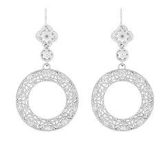 filigree earrings circle of deco sterling silver drop dangle filigree