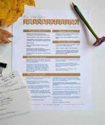 thanksgiving week checklist printable time management tips