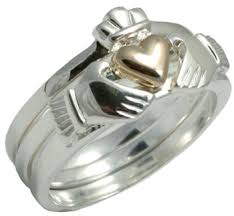 claddagh rings silver 3 claddagh ring with 10k gold plated heart