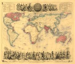 Old World Map Poster by Old Map Of The British Empire In1855 By Fullarton Repro Vintage