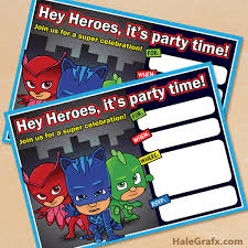 printable pj masks birthday invitation