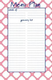 Menu Planner With Grocery List Template Weekly Menu Planner With Shopping List Template