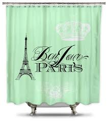 Colorful Fabric Shower Curtains Catherine Holcombe Bonjour Paris Mint Green Fabric Shower Curtain