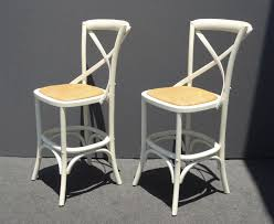 two vintage french country style white rye seat bar stools