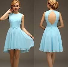 simple graduation dresses high low light blue sleeveless chiffon open back