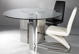 Contemporary Dining Set by Round Tempered Glass Top Modern Dining Table W Optional Chairs