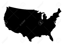 united states of america map with alaska and hawaii solid black silhouette map of united states of america without