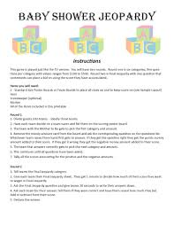 thanksgiving jeopardy baby shower jeopardy digital download trivia game baby shower