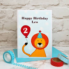 lion u0027 personalised birthday card for children by jenny arnott