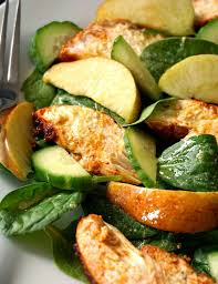 apple and baked paprika chicken salad with dijon mustard dressing