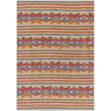 Red Turquoise Rug Artistic Weavers Mayan Star Hand Tufted Poppy Red Tangerine