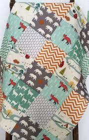 baby boy quilt gender neutral patchwork fox bear camping