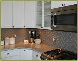 Gray Glass Tile Backsplash by Herringbone Backsplash Subway Tile Back Splash In A Herringbone