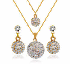 round crystal necklace images Round crystal stones stylish necklace earrings wedding jewelry jpg