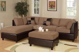 Sectional Sofa With Ottoman F7616 Poundex Saddle Microfiber Modern Sectional Sofa W Ottoman