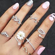 knuckle rings set images Women 39 s stackable knuckle ring rings set rhinestone imitation jpg