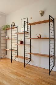 vintage large 3 bay teak ladderax shelving bookcase display unit