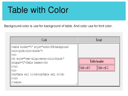 Html Table Font Color Html Starting
