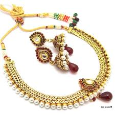 ethnic necklace jewelry images Ethnic pearl chain necklace set with jhumkas jpg