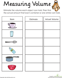 measuring volume how much liquid can it hold worksheet
