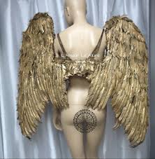 halloween gold extra large gold angel wings cosplay dance costume rave bra samba