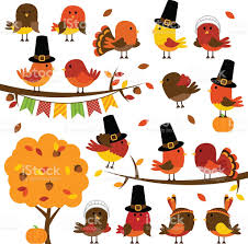 vector collection of thanksgiving and autumn birds stock
