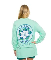 southern shirt company magnolia bayou long sleeve tee in new mint