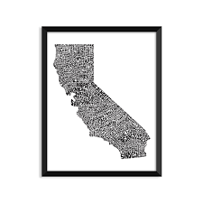 College Home Decor Amazon Com California Typography 4x6 Black And White Poster