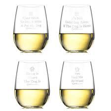 stemless wine glasses dog sayings mixed set of four u2013 rita bean