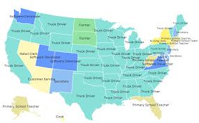 Usa Interactive Map by What Is The Most Common Job In Every U S State