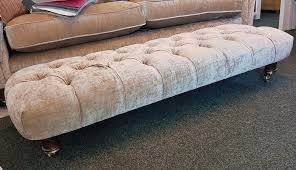 sophisticated chatsworth large banquette footstool in velvet
