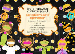 halloween kids cartoons halloween costume kids party birthday invitation digital file